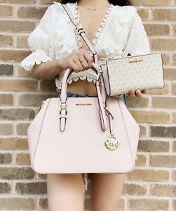 Michael Kors Charlotte Large Satchel + Vanilla MK Blush Pink Double Zip Wristlet