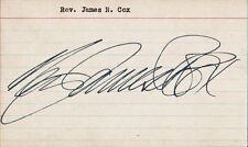 Pittsburgh's REV. JAMES R. COX Autograph