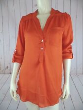 Ellison Blouse Top S Sheer Orange Poly Pullover 3/4 Roll Button Up Sleeves New