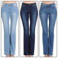 Wax Jean  Women's Juniors Mid Rise Slim Boot Cut Straight Jeans