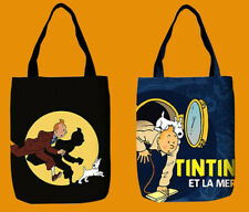 More details for tintin herge everyday tote shopper canvas reusable bag 2 retro designs gift 1pc