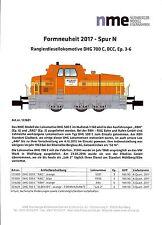 NME Neuheiten 2017 Prospekt: DHG 700 C Rangierdiesellokomotive Ep. 3-6, Spur N