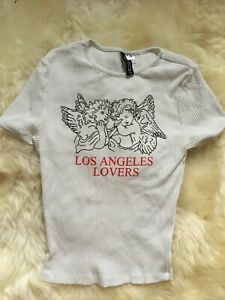 H&m White Ribbed Slogan Picture Angels Los Angeles Lovers Crop Top