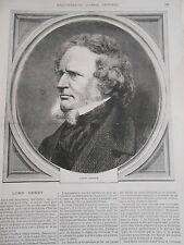 Gravure 1869 - Portrait de Lord Derby