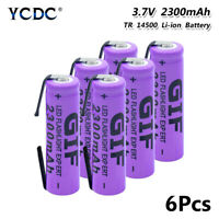 6pcs high quality 3.7v 2300mah 14500 battery rechargeable batteries with tabs 8
