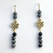 Goldtone Pewter & 14k gf  Endless Celtic Knot Earring-snowflake obsidian,Tibetan