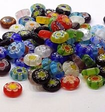 100 x 8MM Assorted Mixed Flat Round Millefiori Beads - B0020
