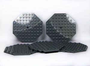 LEGO Large Plates Octagonal DARK STONE GREY 10x10  pack of 5  flat