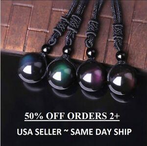 Black Obsidian Rainbow Eye Beads Ball Natural Stone Pendant Transfer Necklace