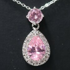 5 Ct Pear Pink Sapphire Halo Pendant Necklace 14K White Gold Plated Jewelry 18""
