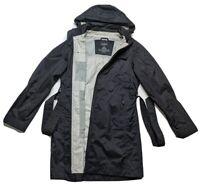 LL Bean LONG HOODED BELTED Black Rain Jacket Coat Womens Small Medium Waterproof