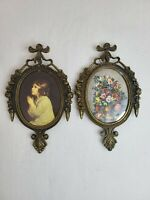 2 Vintage Small Oval Picture Frames Metal Glass Wall Decor Made in ITALY