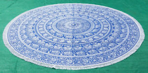 Blue and White Elephant Mandala Round Beach Throw Tapestry Round Table Cover