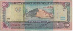 El Salvador banknote P140-6945 100 Colones 12.3.1993/20.12.1994 Serie GV, Fine