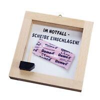 Notfall Kondom mit Scheibe zum Einschlagen, Holzrahmen zum Aufhängen an der Wand