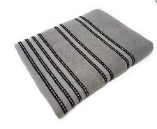rayé clair 100% coton peigné doux absorbant noir gris SERVIETTE MAIN