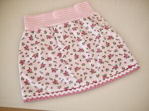doppellagiger Mädchen Baumwoll Rock, Röckchen  Gr.110 Rosen & Tupfen rosa-weiß