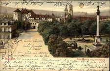 STUTTGART Litho-AK 1902 Prägekarte Partie am Schloss mit Schlossplatz color AK