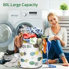 Foldable Extra Large Storage Laundry Hamper Clothes Basket 82L Canvas Organizer