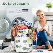 Foldable Extra Large Storage Laundry Hamper Clothes Basket 82L Canvas Organizer