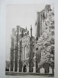Charles Dupechez - WELLS CATHEDRAL - Fine SIGNED Antique Etching c.1920