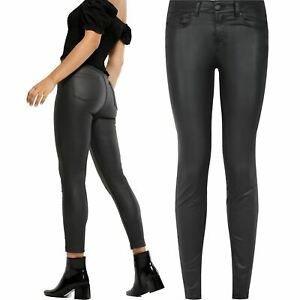 Ladies Ex-Brand High Waist Leather Look Stretch Skinny Womens Lift & Shape Jeans