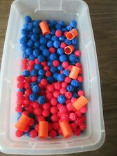 Rokenbok System Lot Of 140 b;ue and 130 red balls and 8 barrels approx
