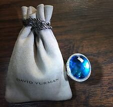 $2,750 David Yurman 925 SS 22x18mm Oval Ring with Blue Topaz and Diamonds Size 7