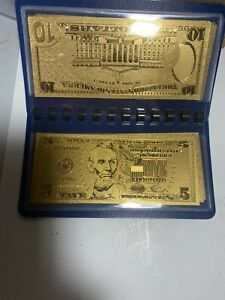 7 PIECE SET 24K GOLD FOIL LAYERED CURRENCY $1, $2, $5, $10, $20, $50, $100.