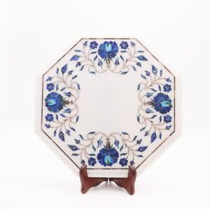 White Marble Coffee End Table Top Lapis Inlaid Marquetry Floral Design Home Deco