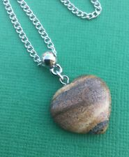 Picture Jasper Polished Gemstone Heart Pendant Necklace Women's - Aussie Seller!