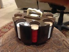 Vintage poker chip holder caddy RARE swirls in brown color swivels on base