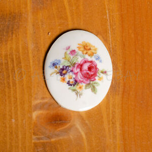 Antique cameos oval cabochons, vintage cameos, Hand printed flowers 1950' - 1 pc