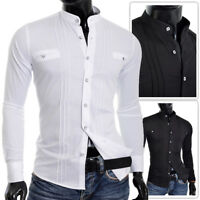 Mens Slim Fit Shirt Grandad Collar Casual Formal Cotton Smart UK Size Square NEW
