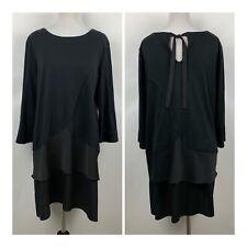 Joan Vass Womens 2 Large Dress Black Tiered 3/4 Sleeve Cotton Blend Stretch