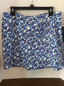 BRIGGS Skort Size 12P Blue White Floral A Line Skirt with Attached Shorts New