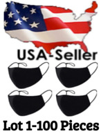 Lot 1-100 Face Mask Bulk Black Cotton Cloth Washable Three Layer *USA Seller*