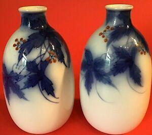 KORANSHA FUKAGAWA BLUE SAKI BOTTLE SET OF 2 VINTAGE JAPANESE LEAVES BERRIES