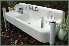 Beautiful 1938 Vintage Farmhouse 5-Piece Antique Farm Sink Set with Legs