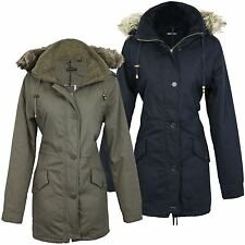 Button Hip Length Parkas for Women