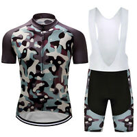 Men Cycling Jersey Shirt Bike Bib Shorts Short Set Camouflage Team Clothing Kits