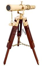 Maritime Nautical Polished Brass Telescope With Wooden Tripod Stand Desk Decor
