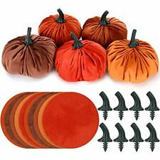 Hotop 10 Set Diy Pumpkin Fall Decorations Small Velvet Pumpkins Include 10 Pcs
