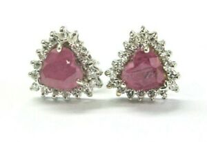 Heart Shape Ruby & Diamond Stud Earrings 14Kt White Gold 1.20Ct Push Back
