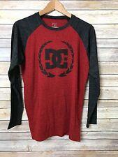 DC Shoes Men's Medium Charcoal Grey Gray & Red Long Sleeve Raglan Logo T Shirt
