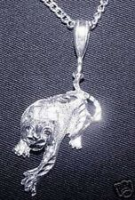 New Diamond cut Panther tiger Cougar Sterling Silver .925 charm Pendant Jewelry