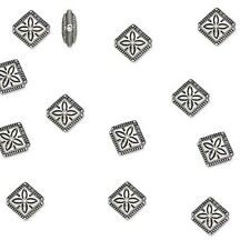 Lot of 50 Antique Silver Pewter 11mm Diamond Shaped Beads with Etched Flower