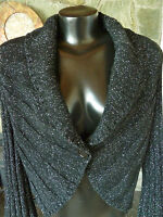 White House/ Black Market Glitzy Black Sweater  Shawl Collar Rounded Front  L