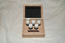 GOLD TESTING WOODEN BOX WITH 5 ACID BOTTLES AND STONE  WATCH AND CLOCK PARTS
