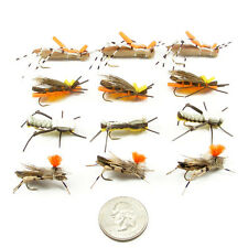 Foam Body Grasshopper Trout Fly Assortment - 12 Fly Fishing Flies - 4 Patterns